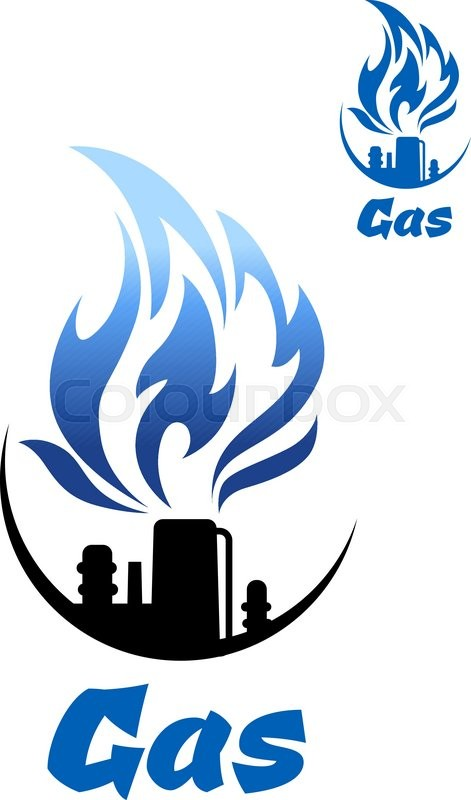 Natural Gas Refinery Factory Icon With Nozzle Of Industrial Plant