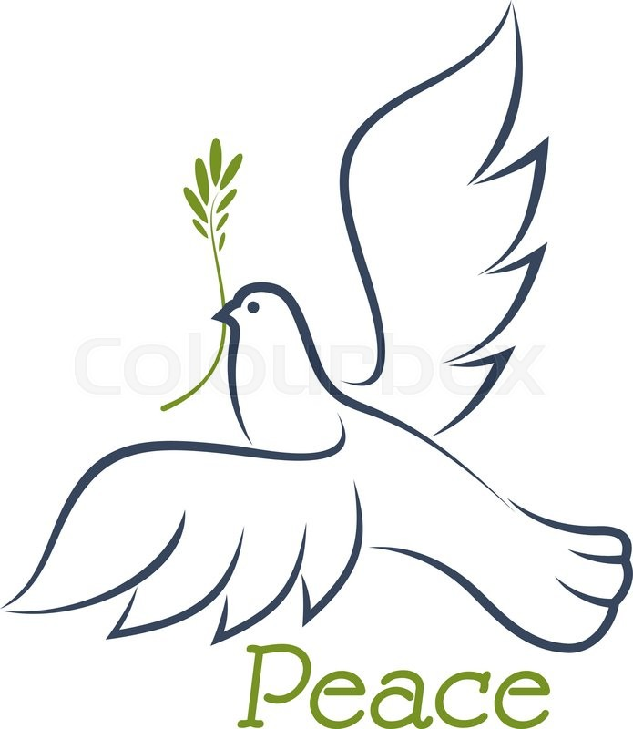 White dove of peace flying with green       Stock vector   Colourbox