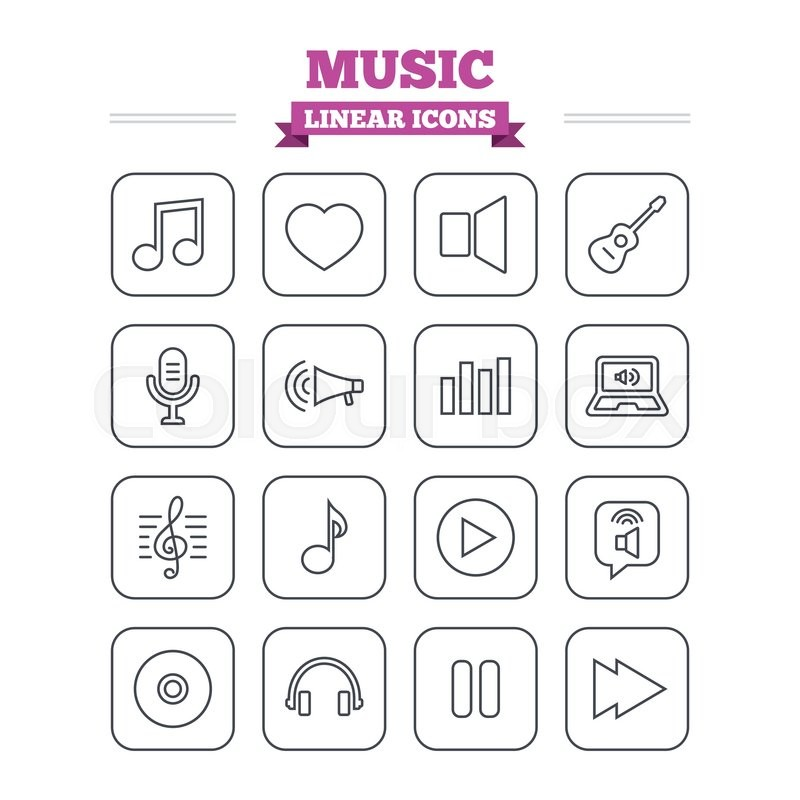 Music Linear Icons Set Musical Note Acoustic Guitar And Microphone