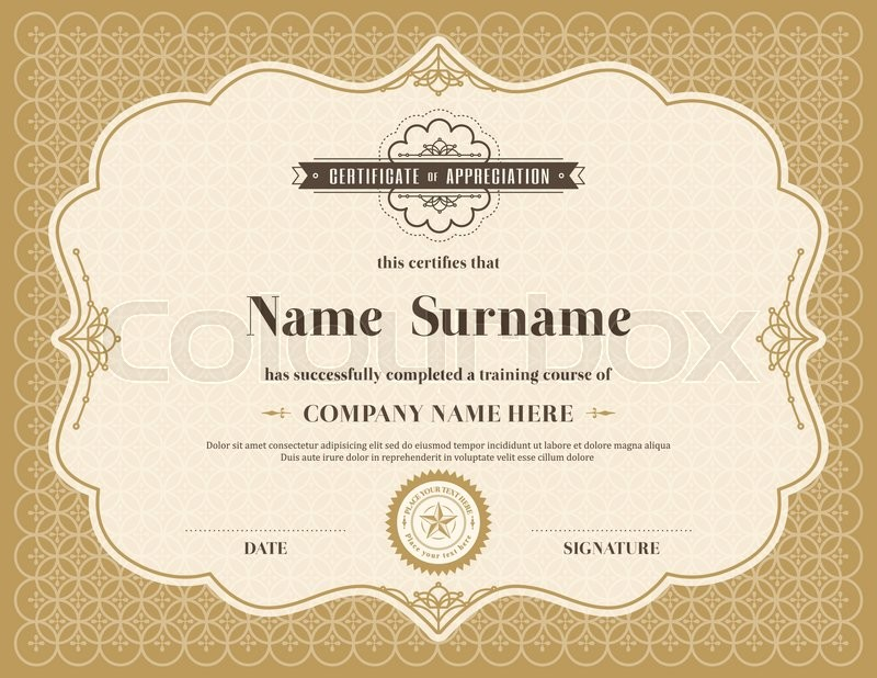 Vintage retro frame certificate ... | Stock Vector | Colourbox