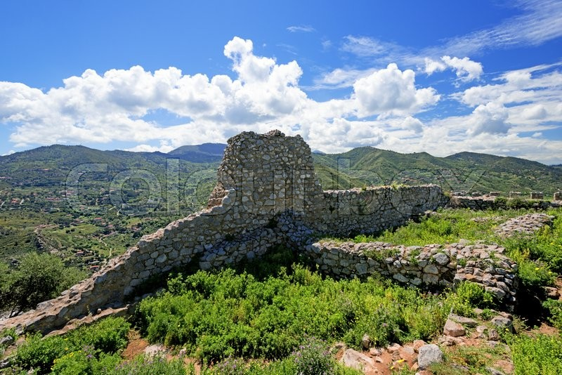 Ancient fortress on mountain in Cefalu city on Sicily island, Italy, stock photo