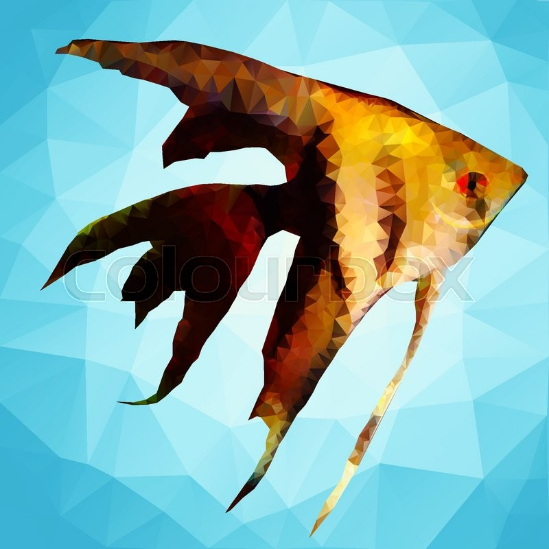 Ornamental fish in the style of polygon graphics | Stock ...