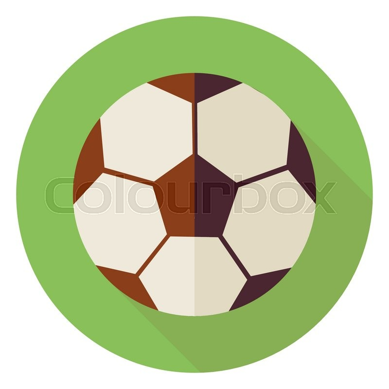 Flat Sports Ball Soccer Football. Back to School and Education Vector illustration. Flat Style Colorful Sports Item Circle Icon with Long Shadow. Leisure and Activity. Team Sport and Fitness. Physical Education, vector