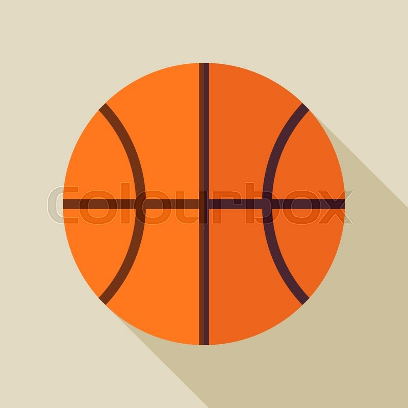 Flat Sports Ball Basketball. Back to School and Education Vector illustration. Flat Design Colorful Sports Item illustration with Long Shadow. Leisure and Activity. Team Sport and Fitness. Physical Education, vector