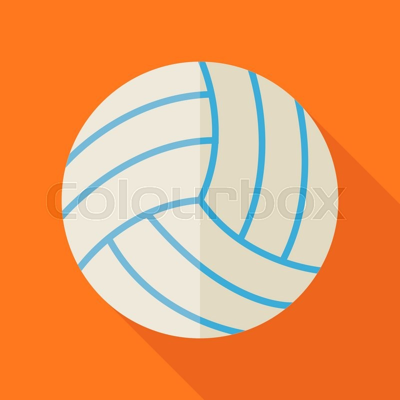 Flat Sports Ball Volleyball. Back to School and Education Vector illustration. Flat Design Colorful Sports Item illustration with Long Shadow. Leisure and Activity. Team Sport and Fitness. Physical Education, vector
