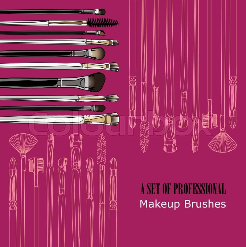 Makeup Brush Set Painted By Hand On A