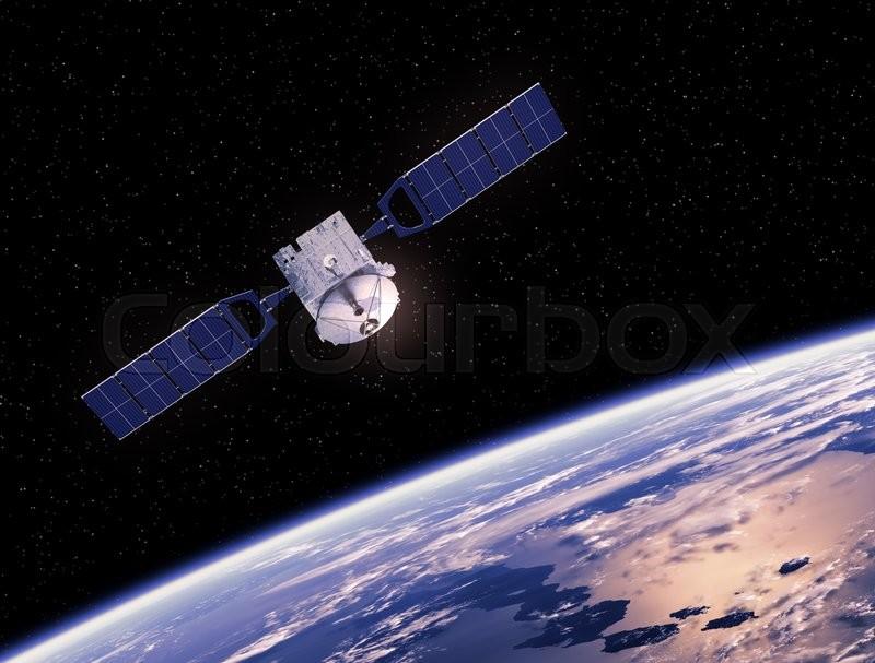 communication space satellite orbiting earth 3d scene stock