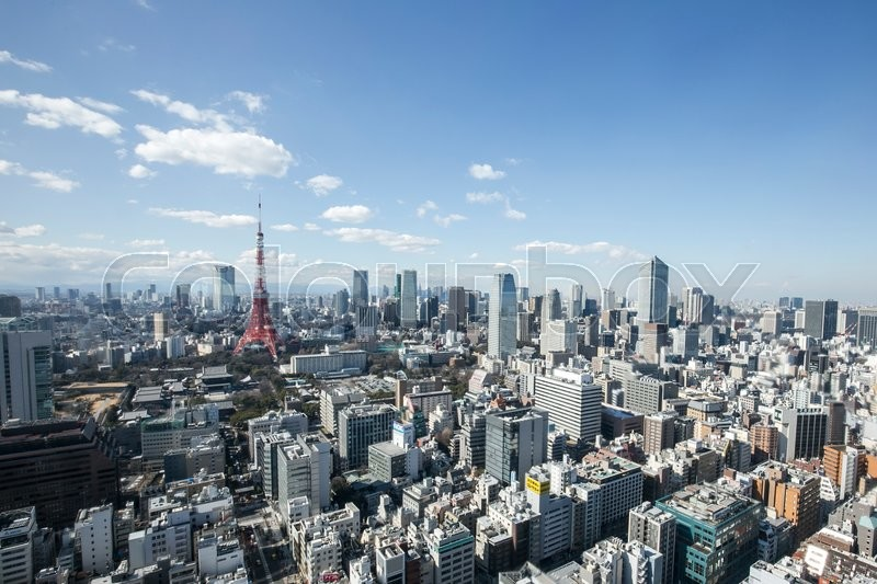 TOKYO, JAPAN - 19 FEBRUARY 2015 - The Tokyo tower in the Kanto region and Tokyo prefecture, is the first largest metropolitan area in Japan. Downtown Tokyo is very modern with many skyscrapers, stock photo