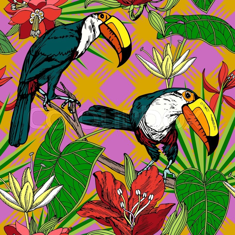 Vintage Style Tropical Bird And Flowers Background: Vintage Style Tropical Birds ...