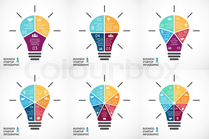 Vector Light Bulb Infographics Set  Template For Circle Diagram  Graph  Presentation And Round