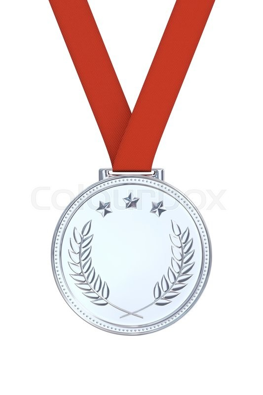 Stock image of 'Silver medal with laurels, stars on a red ribbon. Round blank coin with ornaments. Victory, best product, service or employee concept. Achievement in sports. Isolated on white background.'