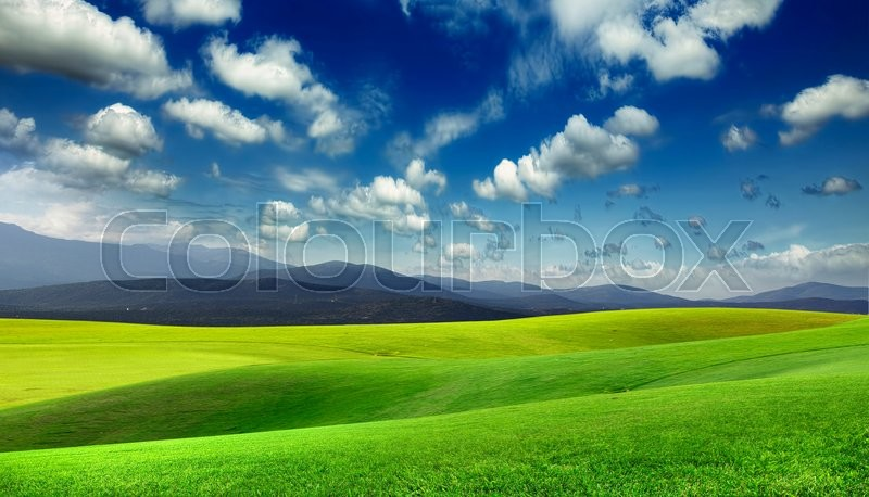 Stock image of 'Green meadow and mountains on the horizon'