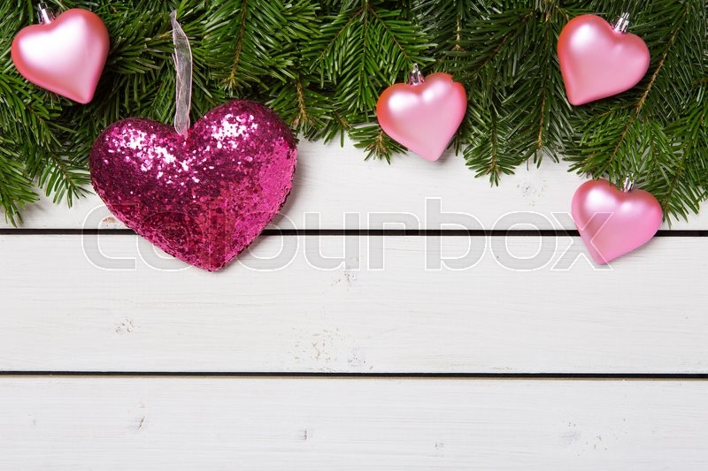 Stock image of 'Christmas decoration with green tree on white wooden planks - gift, card'