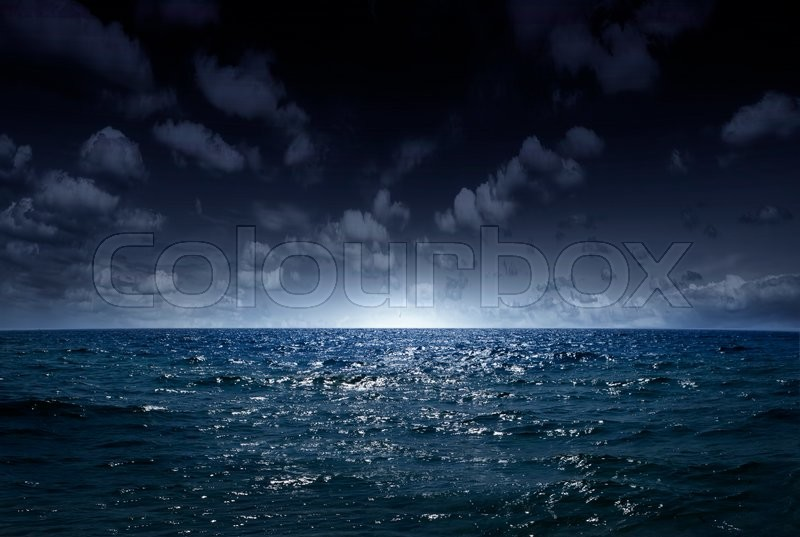 Night sea, the ocean as a natural background, stock photo