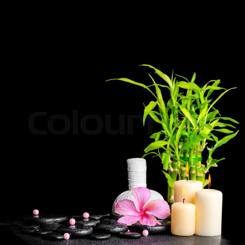 Stock image of 'Spa concept of hibiscus flower, bamboo, thai herbal compress ball, beads and candles on zen basalt stones with drops, closeup'
