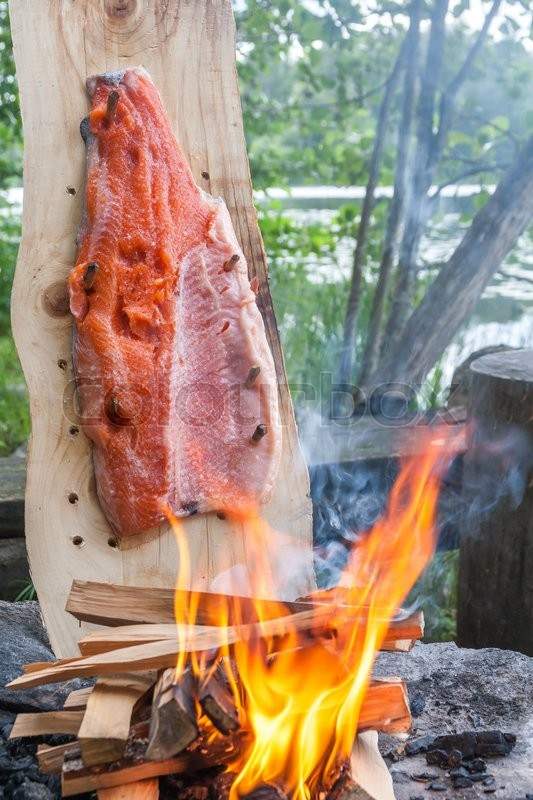 Stock image of 'Plank cooked salmon'
