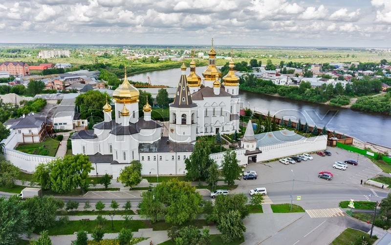 Stock image of 'Tyumen, Russia - July 17, 2015: Aerial view on Holy Trinity Monastery. Church of Saints Peter and Paul and Holy Trinity Cathedral'