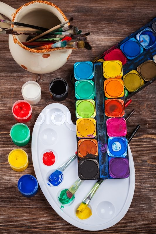 Stock image of 'Different used brushes, colours and watercolours'