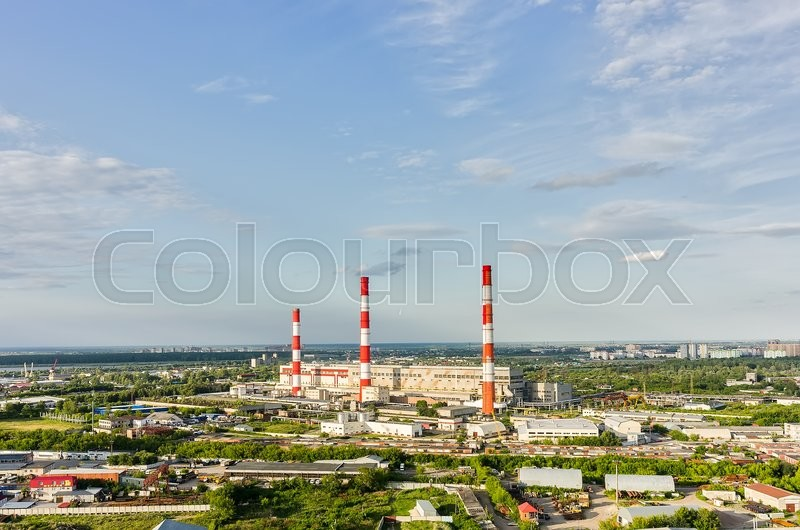 Stock image of 'Tyumen, Russia - July 17, 2015: Aerial view on combined heat and power factory'