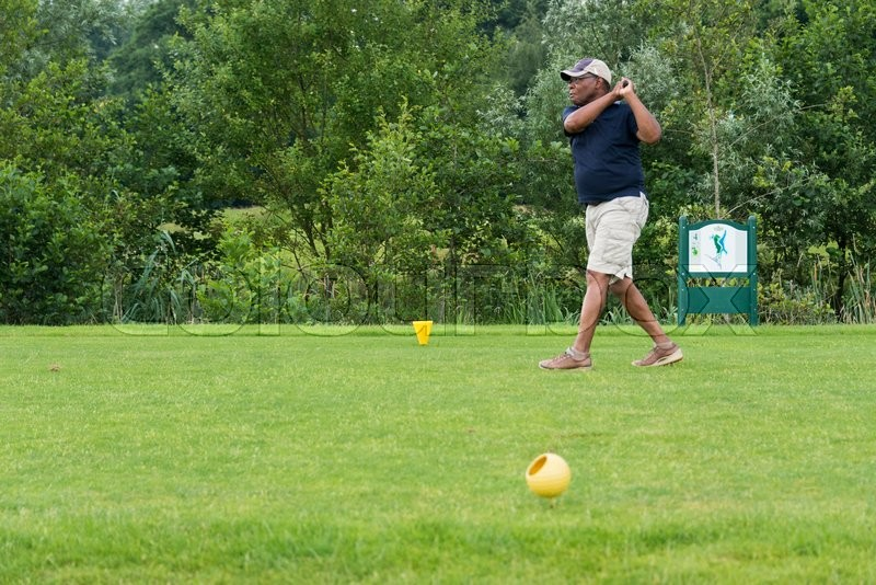 Editorial image of 'DELDEN,HOLLAND- JULI 5:Unidentified golfer participate in open golf tournement on Juli 5 2015 in Delden Holland, this game is held once a year'