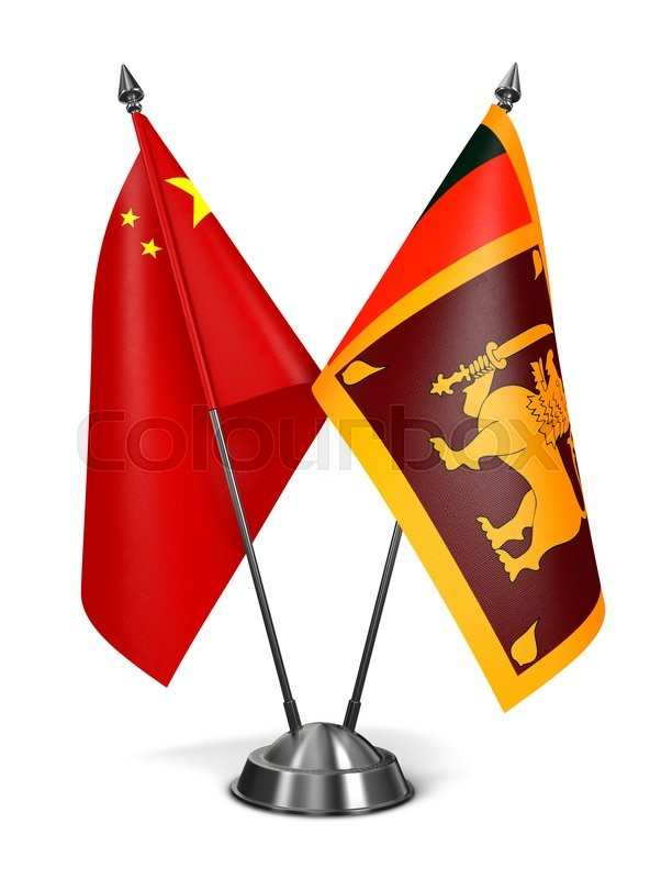 Stock image of 'China and Sri Lanka - Miniature Flags Isolated on White Background.'