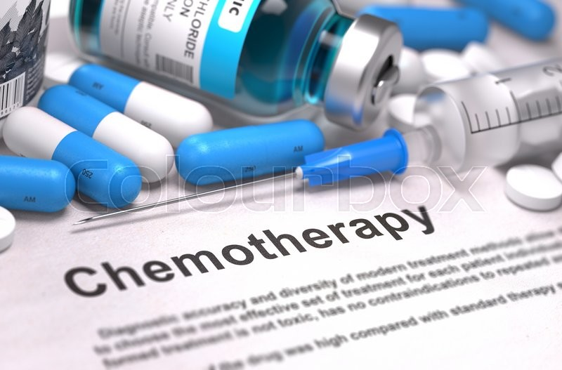Stock image of 'Chemotherapy - Printed with Blurred Text. On Background of Medicaments Composition - Blue Pills, Injections and Syringe.'