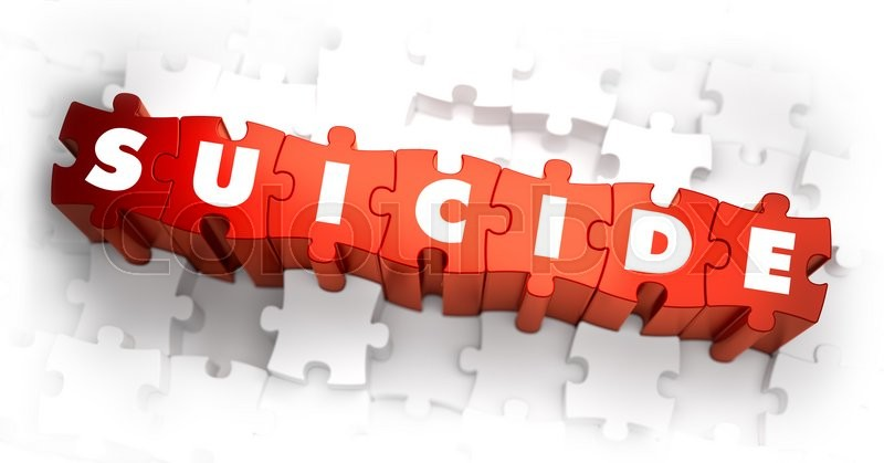 Stock image of 'Suicide - Text on Red Puzzles with White Background. 3D Render. '