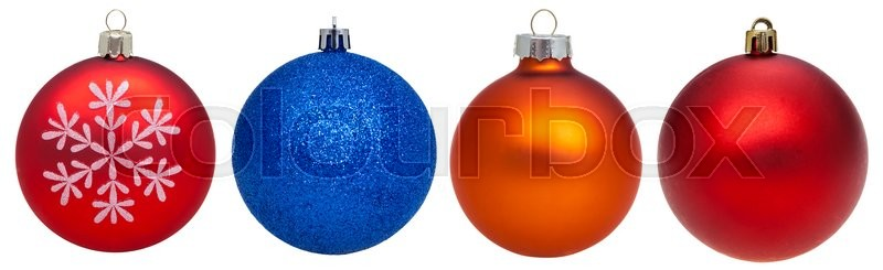 Stock image of 'christmas decorations - set of various glass xmas balls isolated on white background'