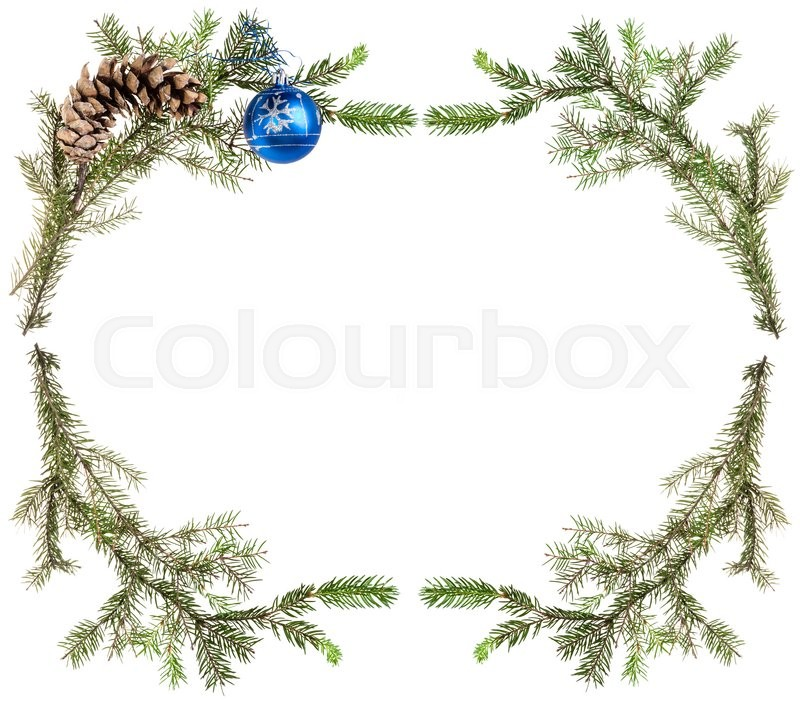 Stock image of 'christmas greeting card frame - spruce tree branches with cones and blue ball on white background'