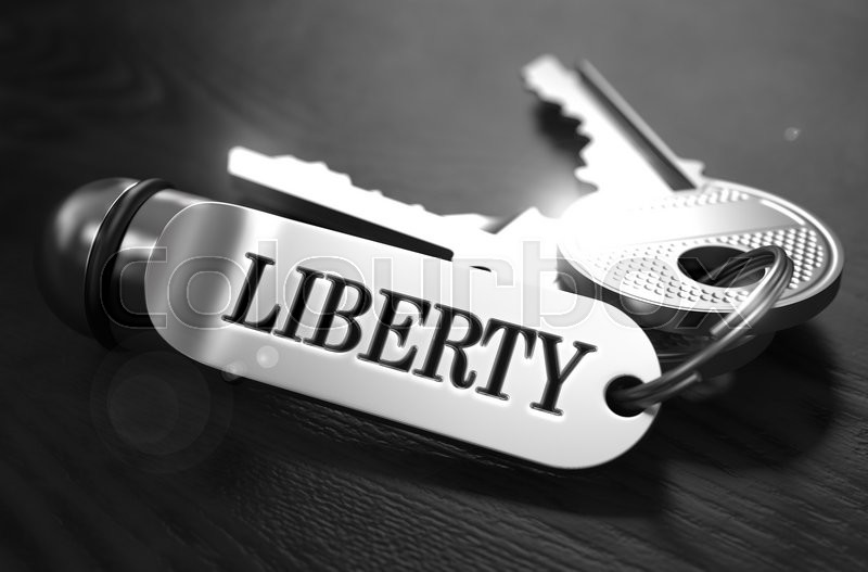 Stock image of 'Liberty Concept. Keys with Keyring on Black Wooden Table. Closeup View, Selective Focus, 3D Render. Black and White Image.'