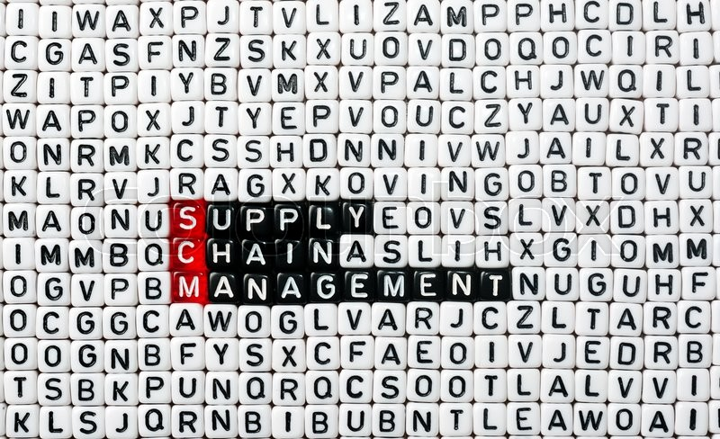Stock image of 'SCM Supply Chain Management written on black and white  dices '