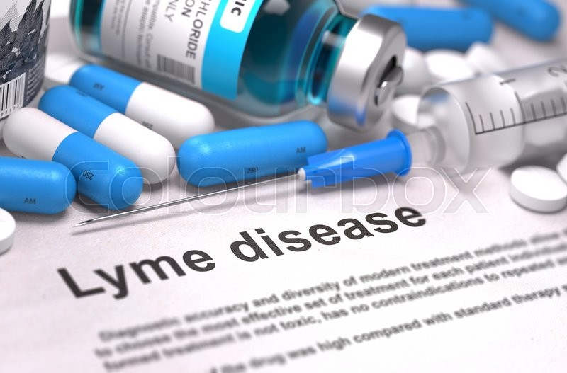 Stock image of 'Lyme Disease - Printed Diagnosis with Blurred Text. On Background of Medicaments Composition - Blue Pills, Injections and Syringe.'