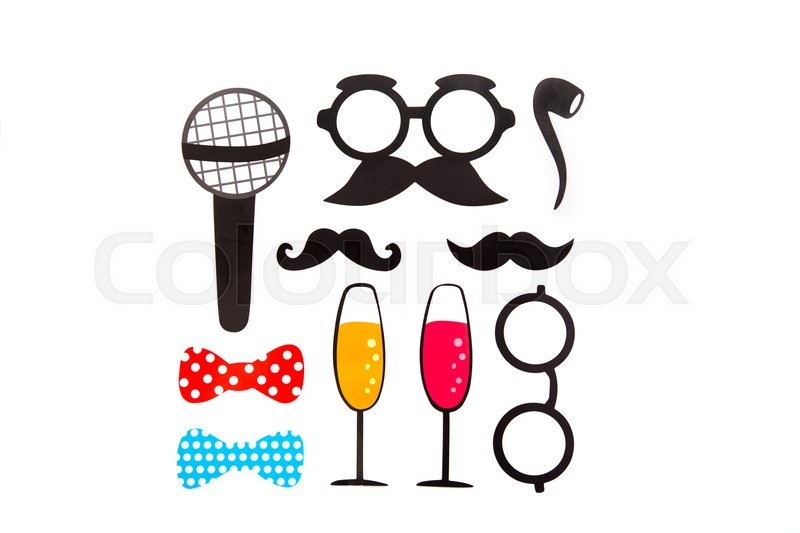 Stock image of 'Photobooth Birthday and Party Set - glasses, hats, crowns, masks, lips, mustaches'