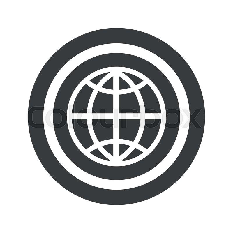 Image Of Globe Symbol In Circle On Black Circle Isolated On White