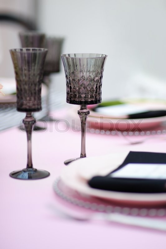 Stock image of 'Table set for an event party or wedding reception'