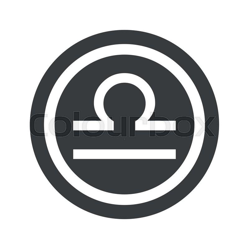 Image Of Libra Zodiac Symbol In Circle On Black Circle Isolated On