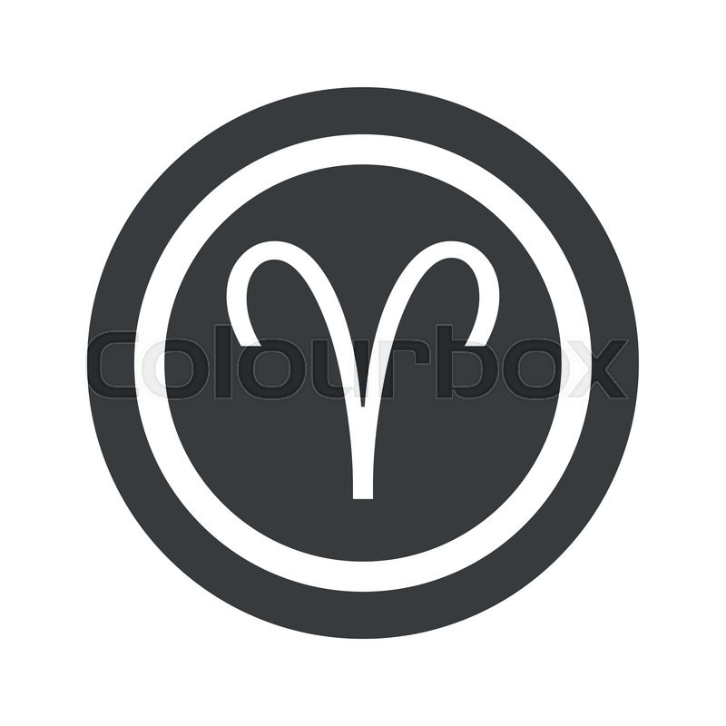 Image Of Aries Zodiac Symbol In Circle On Black Circle Isolated On