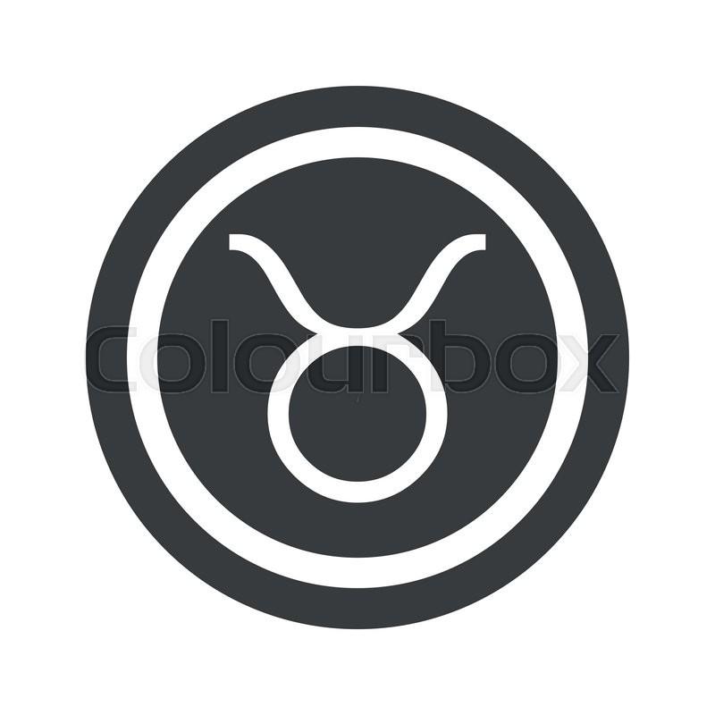 Image Of Taurus Zodiac Symbol In Circle On Black Circle Isolated