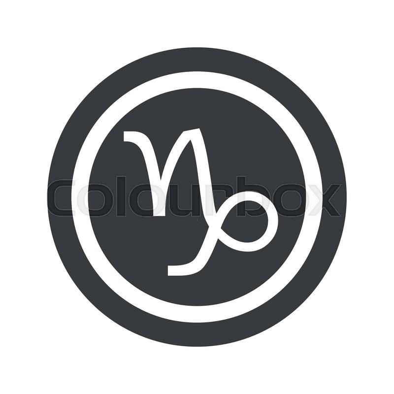 Image Of Capricorn Zodiac Symbol In Circle On Black Circle