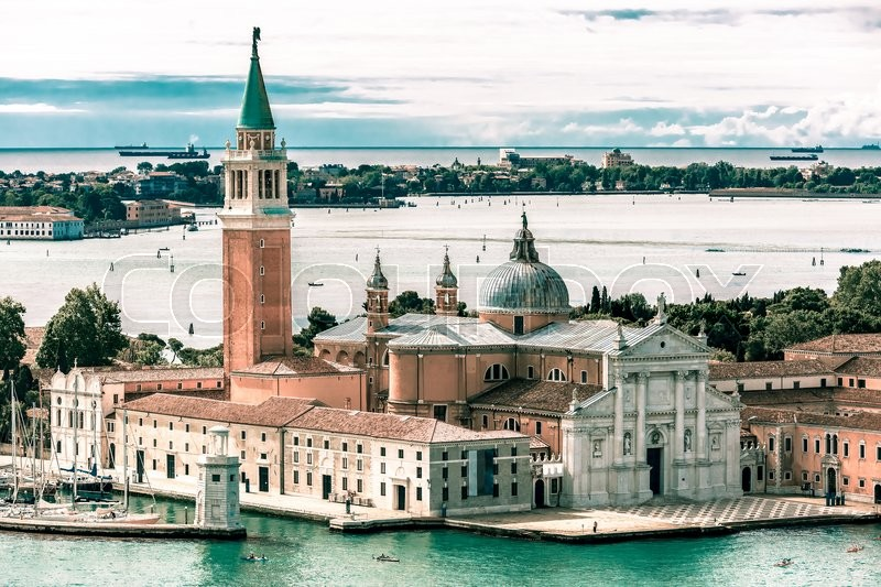 Stock image of 'View from Campanile di San Marco to San Giorgio Maggiore island and church at summer morning in Venice, Italy. Toning in cool tones'