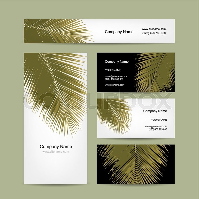 Business cards design with tropical palm leaf. Vector illustration ...