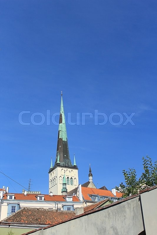 Stock image of 'view of Tallinn's Old Town from up on high'