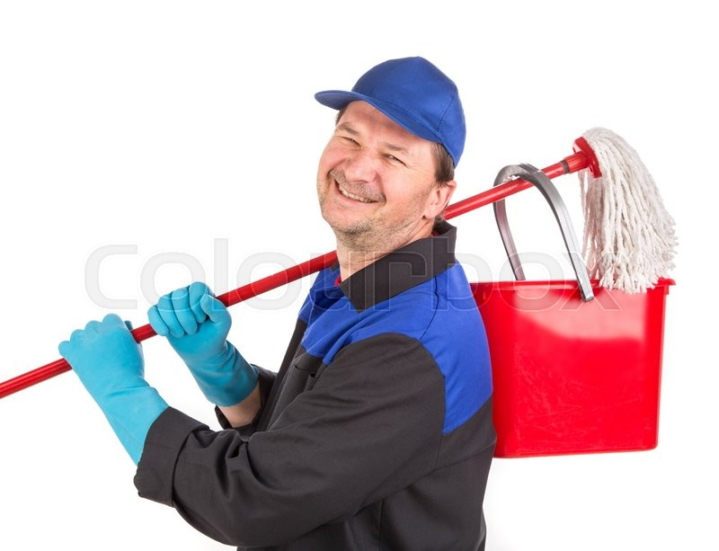 Stock image of 'Man holding cleaning mop and bucket. Isolated on a white background.'