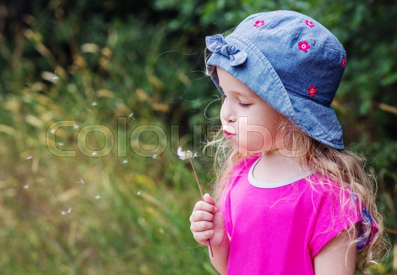 Stock image of 'Adorable little girl blowing off dandelion on a summer day'