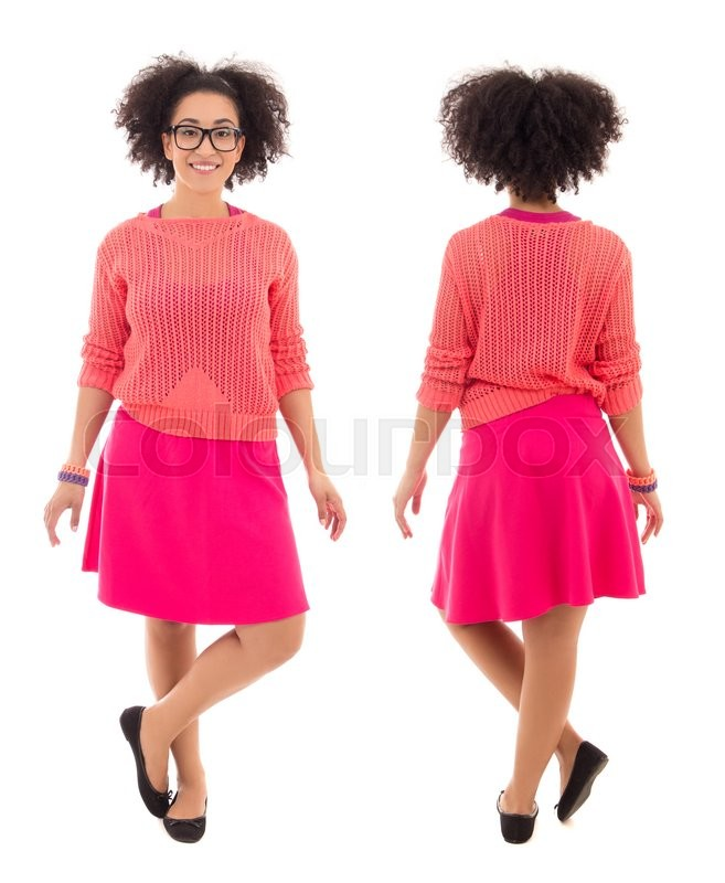 Stock image of 'front and back view of african american teenage girl in pink posing isolated on white background'