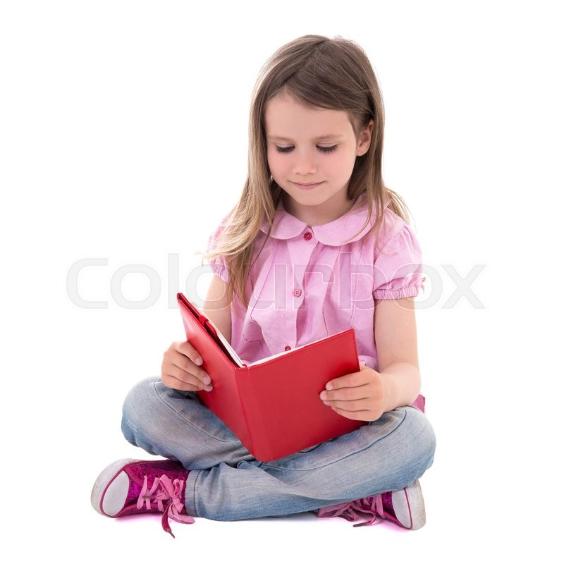 Stock image of 'education concept - cute little girl with book isolated on white background'