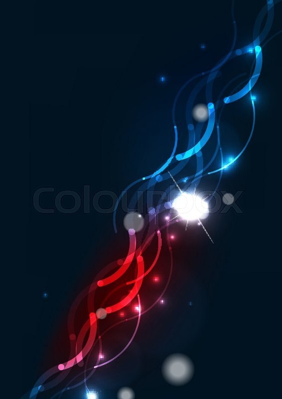 Abstract Color Glowing Lines In Dark Stock Vector