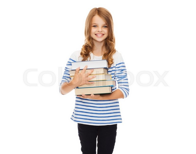Stock image of 'education and school concept - little student girl with many books'