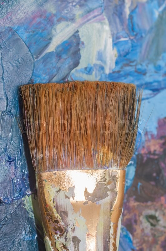 Stock image of 'oil paints and brushes can be used as background'