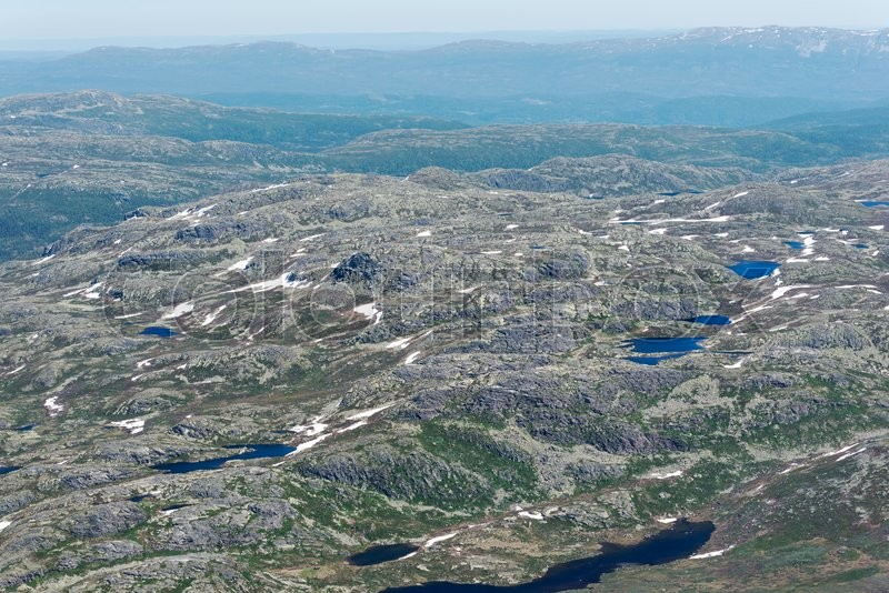 Stock image of 'Panoramic view from Gaustatoppen mountain at sunny summer day, Telemark, Norway'